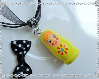 Necklace pendant - matryoshka Russian doll - yellow - silver bail