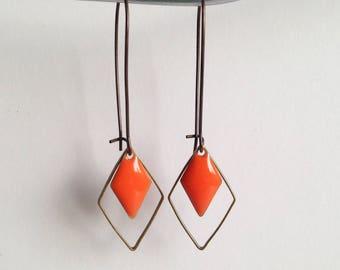 Earrings - diamond - Orange