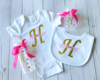 New baby gift - personalized gift for baby - custom baby girl gift - monogrammed baby - baby gift set - baby shower gift set - girl baby set