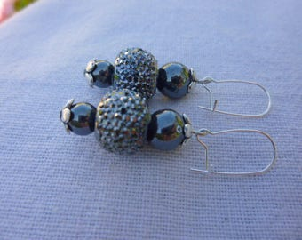Grey Crystal beads and Hematite earrings