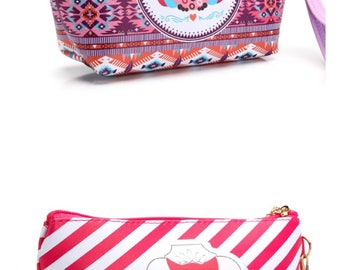 Free shipping Handmade Owl Travel Organizer Cosmetics Bag Purse Makeup Bag