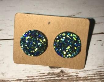 12mm druzy sparkle blue green earrings