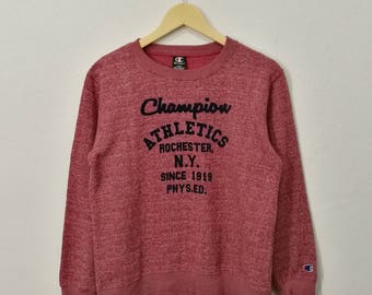 RARE!! Vintage Champion Rochester NY Embroidery Sweatshirt Pullover Big Spell Out