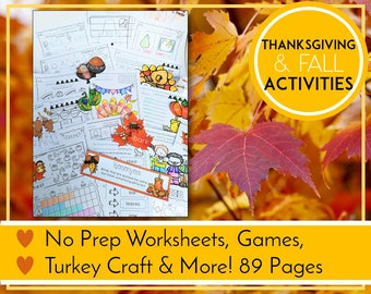 Thanksgiving Activities, Literacy and Math Activities, Fall Printables, Kindergarten Learning, Teaching Education Resource, Kids Activities