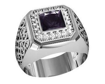 Square Cut Black Zircon Men's Ring Sterling Silver 925 SKU700560