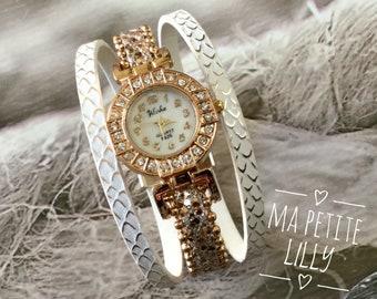 Shows elegant Lady summer 2018 round gold pink gold white ridged cuff bracelet