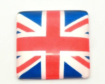 1/8 pcs Cabochon square glass 25mm British flag (union jack)