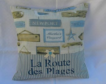 Cushion deco sea side cotton and removable with inscription painting