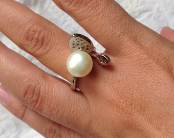 Silver ring and beads natural T57