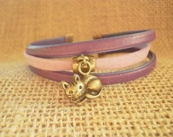 Leather Bracelet, violet and purple, cat charm, size 18.5 cm
