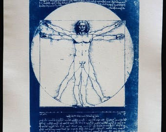 Vitruvian Man by Leonardo da Vinci. Blue cyanotype