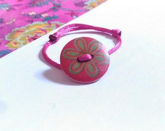 fuchsia satin cord olive flower button bracelet