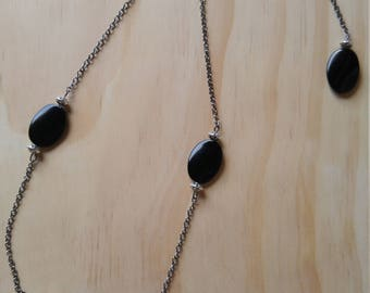 Black Glass Lentil Bead Necklace with Back Drop