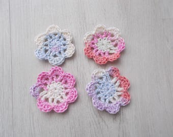 Crocheted cotton flowers