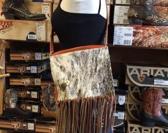 Orange Leather Bag with Fringe