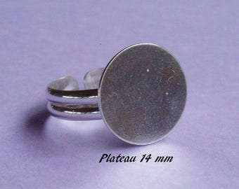 Ring in sterling silver. 925, 14 mm round flat top