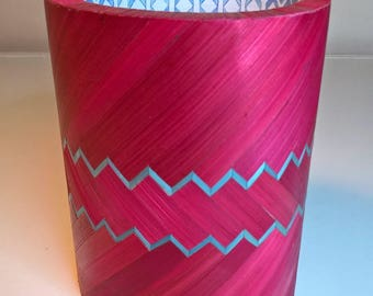 Burgundy and blue pencil holder