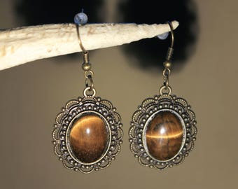 """Bronze colored metal, Steampunk earrings retro vintage, with """"Tiger eye"""""""