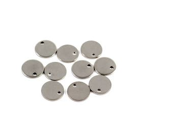 10 small round charm stainless steel Silver finishes