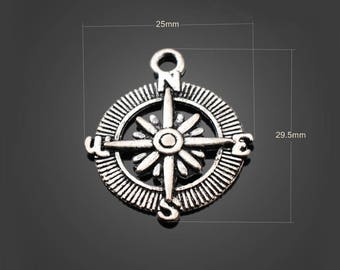 30pcs 25*30mm Antique Silver Compass Charms Alloy Pendants Setting Jewelry Metal Findings Handmade Supplies Wholesale YZ-YP2951