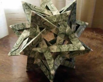 Origami money five intersecting tetrahedra