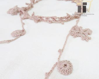 Hand Knitted Necklace, Knit, Necklace, Accessories, Yarn, Handmade, Hand Knit, Unqiue, Pink