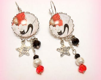 "Glass cabochon earrings ""Sacred even in winter clothes"""