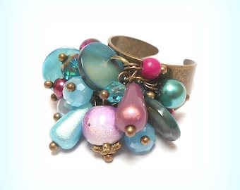 "Ring ""Pearly purple Turquoise"" beads charms"