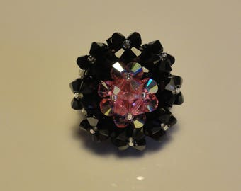 Ring oval girlfriend hand made pink and black Swarovski Crystal beads