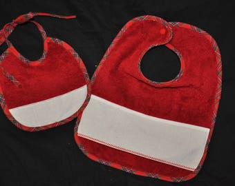 Set of 2 baby bibs with embroidered red - Plaid - Christmas