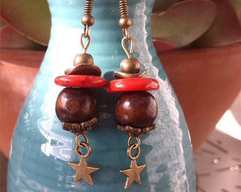 Heishi bead and bronze charms earrings