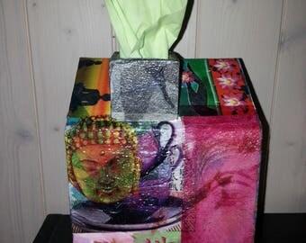 Tissue pattern Zen house shaped box