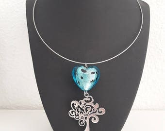 Heart lampwork and tree of life necklace