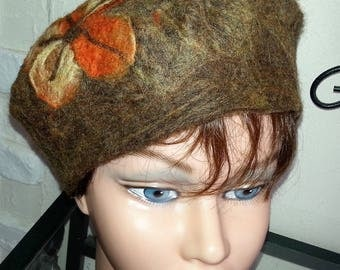 "Beret wool felted ""hand"" fall colors"