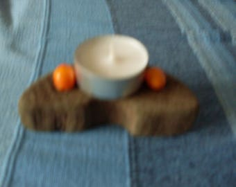 Handmade candle holder Driftwood with two orange shells varnish with his candle Tealight holder