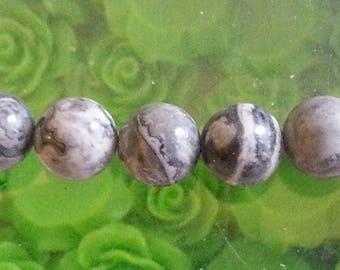 1 Pearl, gray Jasper and 8mm diameter, hole 1 mm