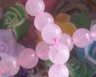 20 diameter 8 mm rose quartz beads, hole 1 mm