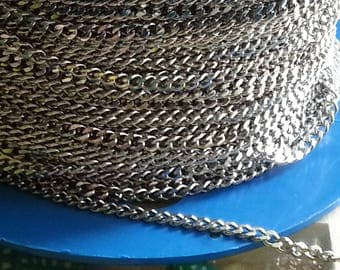 1 meter bracelets 304 stainless steel, non welded twisted chains, stainless steel color, 4x3x0.8 mm