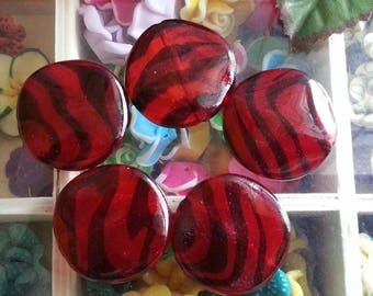 1 printed acrylic beads red, about 30 mm in diameter, 5 mm thick, hole: 2.5 mm