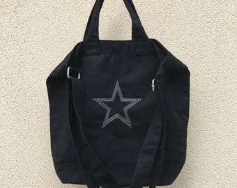 Large shoulder bag embroidered with a Silver Star in black cotton