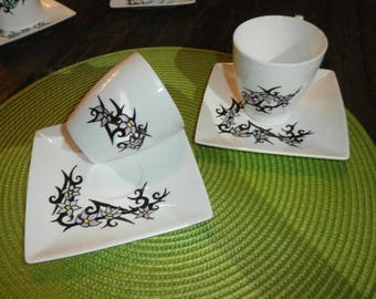 custom painted white porcelain flowers earinya Cup