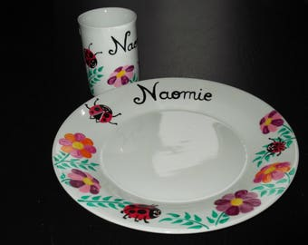 """All dishes painted """"Ladybug"""" personalized with name"""