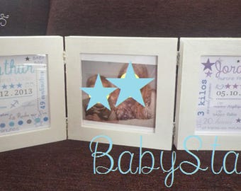 Triptych, 3 frames baby illustration personalized stars