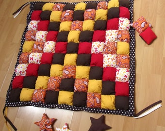Orange, yellow, Brown and Red baby play mat