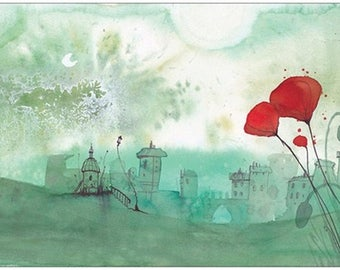"Great postcard - ""green coquelicotant landscape"" - red poppy"