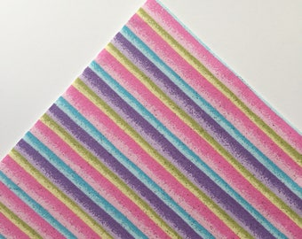 Pastel Glitter Stripes - Custom Print Fabric Felt - 8x11 Sheet - Fabric Felt