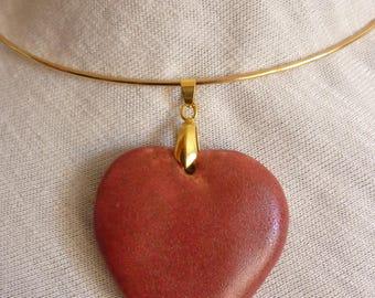 Intense red stoneware ceramic heart