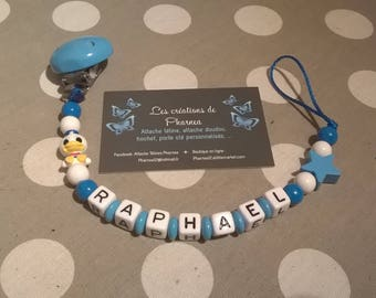 Toxoplasmosis personalized with name white and dark blue medium blue star donald duck pacifier clip