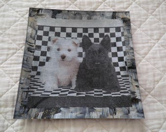 """Glass plate """"dogs black and white"""""""