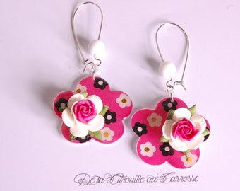 Pink, black and white, pink 3D Flower Earrings